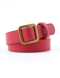 Fashion Dark Red Square Buckle Without Hole Soft Leather Belt