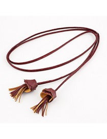 Fashion Dark Red Pu Flower Tassel Straps Thin Belt