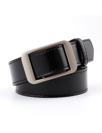 Fashion Black Alloy Buckle Pu Belt