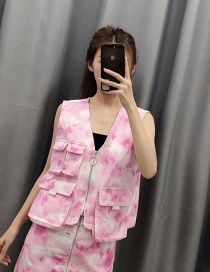 Fashion Rose Powder Tie-dye Sleeveless Denim V-neck Vest