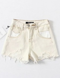 Fashion White Washed High Waist Pull Hair Hole Pocket Stitching Denim Shorts