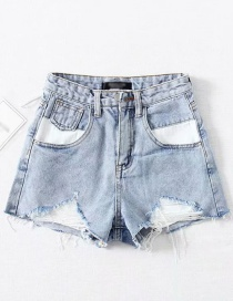 Fashion Light Blue Washed High Waist Pull Hair Hole Pocket Stitching Denim Shorts