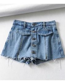 Fashion Blue Washed Fake Pocket Single-breasted High-waist Denim Skirt