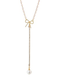 Fashion Gold Bow And Diamond Pearl Pendant Necklace
