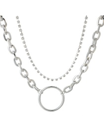 Fashion Silver Chain Square Diamond Large Circle Multilayer Alloy Necklace