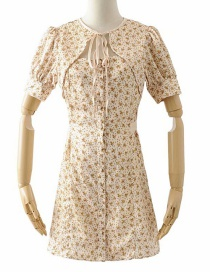 Fashion Yellow Floral Laced Single-breasted Dress