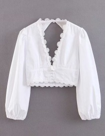 Fashion White Embroidered Three-dimensional Daisy Lace Bubble Sleeve Backless Shirt