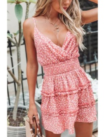 Fashion Orange Floral Print Sling Halter Dress