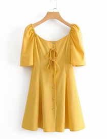 Fashion Yellow Lace-up Button Single-breasted Dress