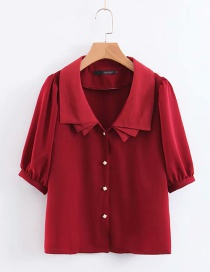 Fashion Red Overlapping Lapel Shirt