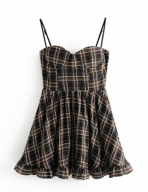 Fashion Black Plaid Printed Halter Tube Top Halter Dress