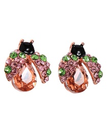 Fashion Gold S925 Silver Pin Studded Ladybug Earrings