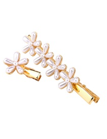 Fashion Gold 1 Set Of Flowers And Pearl Hair Clips