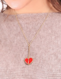 Fashion Red Heart Drop Necklace
