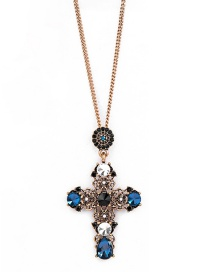 Fashion Blue Cross With Diamond Necklace