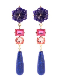 Fashion Blue Flower Geometric Stud Earrings