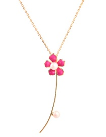 Fashion Rose Red Flower Drop Oil Pearl Necklace