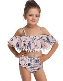 Fashion Pink Print Hair Ball Ruffled Children's Swimsuit