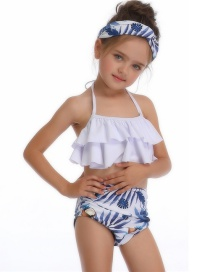 Fashion White On Blue Printed Ruffled Hanging Neck Children's Swimsuit
