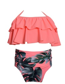 Fashion Orange Printed Ruffled Children's Swimsuit