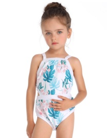 Fashion Blue Print Colorblock Children's One-piece Swimsuit