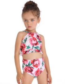 Fashion White Small Wooden Ear Print Children's Split Swimsuit