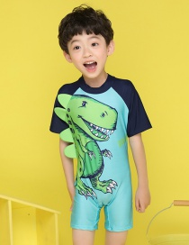 Fashion Green + Black Color Matching Little Monster Print Children's Swimsuit