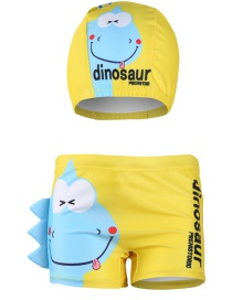 Fashion Yellow Dinosa Cartoon Print Children's Swimming Trunks