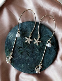 Fashion Gold 925 Silver Needle Pearl Star Moon Earrings