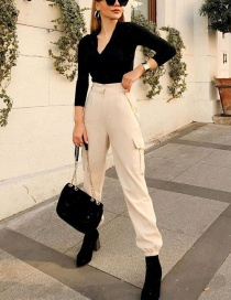 Fashion Apricot Pocket Elastic Trousers