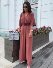 Fashion Rust Red Small Stand Collar With Belt Jumpsuit