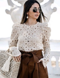 Fashion Cream Color Long Sleeve Lace Top