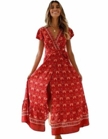 Fashion Red V-neck Print Dress