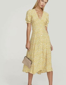 Fashion Yellow Floral Dress