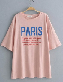 Fashion Pink Letter Print T-shirt
