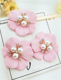 Fashion Pink Alloy Flower Pearl Earrings Hair Clip Set