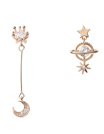 Fashion Gold S925 Silver Needle Asymmetric Star And Zircon Stud Earrings