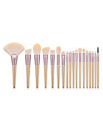 Fashion Pink 18-piece Iron Fan Princess Makeup Brush