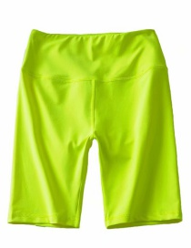 Fashion Fluorescent Green Solid Color Cycling Shorts