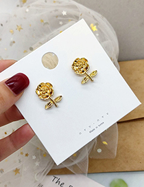 Fashion Golden Flowers Matte Gold Three-dimensional Carved Rose Earrings