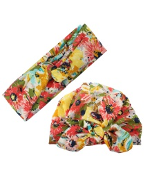 Fashion Color Printed Cross Hair Band + Printed Rabbit Ear Hat Parent-child Suit