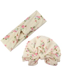 Fashion White Printed Cross Hair Band + Printed Rabbit Ear Hat Parent-child Suit