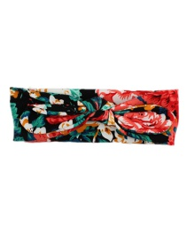 Fashion Red Safflower Print Knotted Rabbit Ears Children's Headband