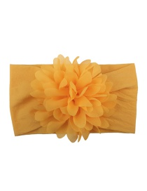 Fashion Yellow Nylon Chiffon Flower Baby Hair Band