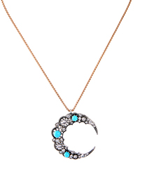 Fashion Blue Moon Moon Pendant Necklace