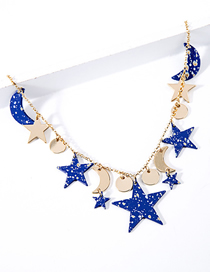 Fashion Blue Five-pointed Star Star Moon Necklace