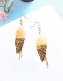 Fashion Gold Feather Earrings