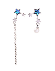Fashion Blue Star-studded Pearl Earrings