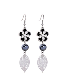 Fashion White Dragonfly Oil Flower Leaf Earrings