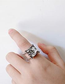 Fashion Silver Irregular Stone Imitation Gemstone Square Open Ring